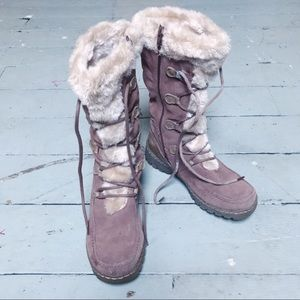 Faux Fur-Lined Lace-Up Boots